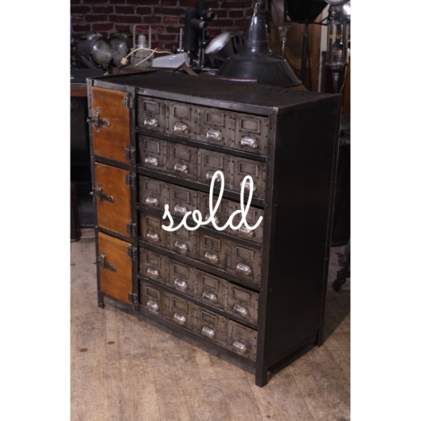 Vintage early 20th Century French industrial lockers – 3 lockers 27 drawers